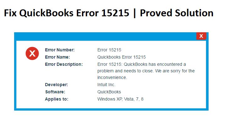 Fix QuickBooks Error 15215